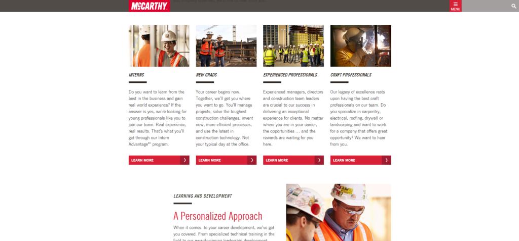 Construction Website Trends - Sticky Nav - McCarthy