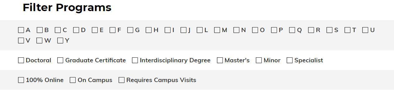 University of Missouri Grad Studies New Website - Search Filtering Features