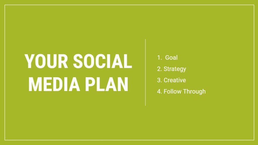 Social Media Management - Your Social Media Plan: 1. Goal 2. Strategy 3. Creative 4. Follow Through