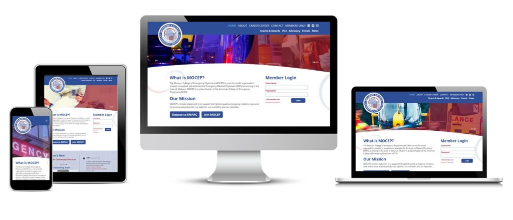 Missouri College of Emergency Physicians New Website Displayed on Multiple Devices