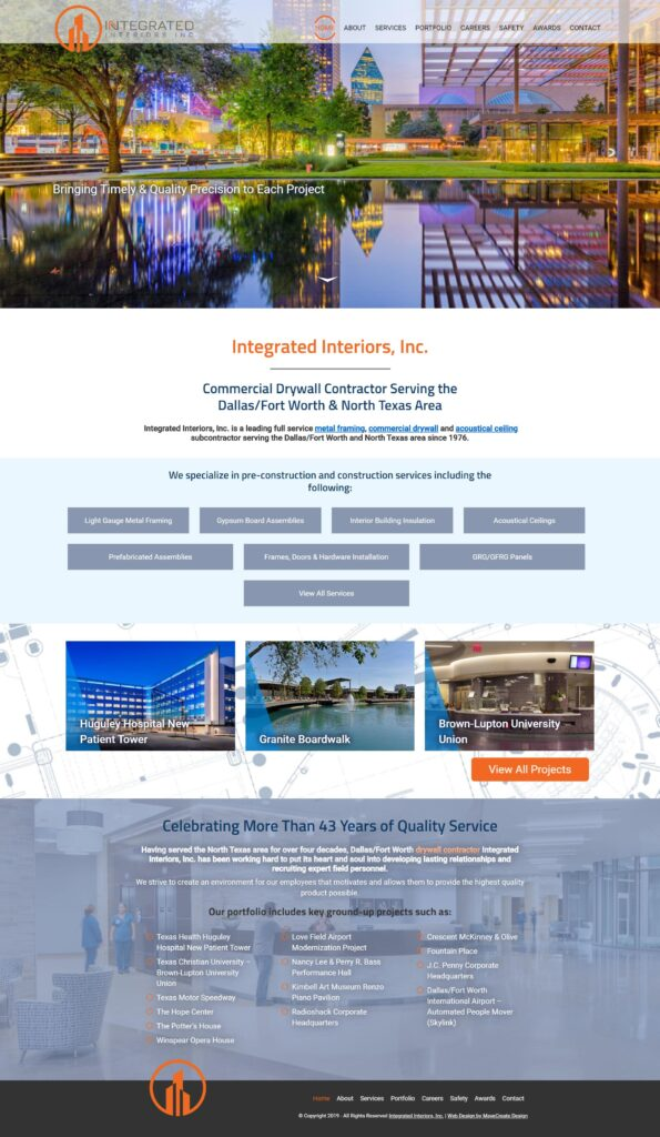 Construction Company Website Content: Screenshot of Integrated Interiors, Inc. home page