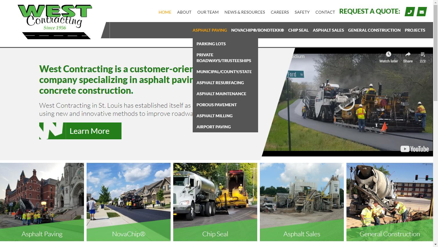 Construction Company Website Content: Screenshot of West Contrating's home page