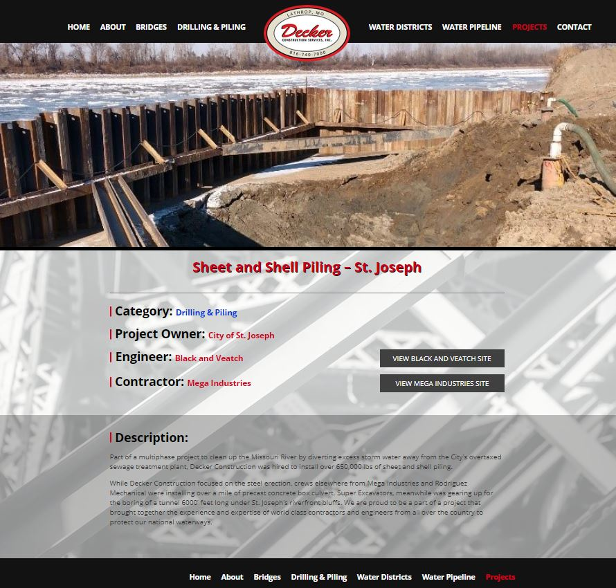 Construction Company Website Content: Screenshot of Decker's individual project page