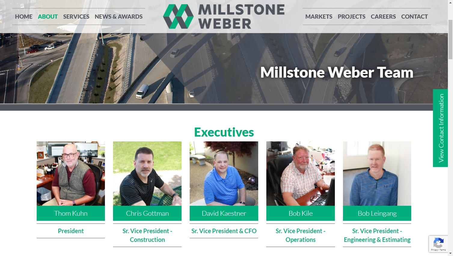 Construction Company Website Content: Screenshot of Millstone Weber's Team page