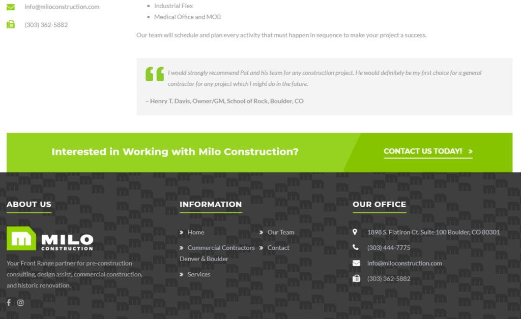 Image of Milo Construction call to action for hiring