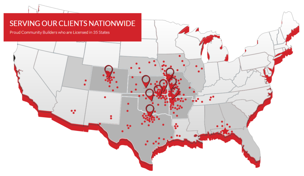 Crossland Projects and Locations map featured on their main Projects page