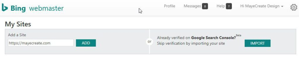 how to submit a sitemap on search engines - click teal Import button in upper right to import sitemap in Bing webmaster tools from Google Search Console