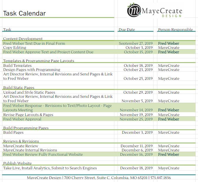 marketing project management - task calendar in Google Sheets