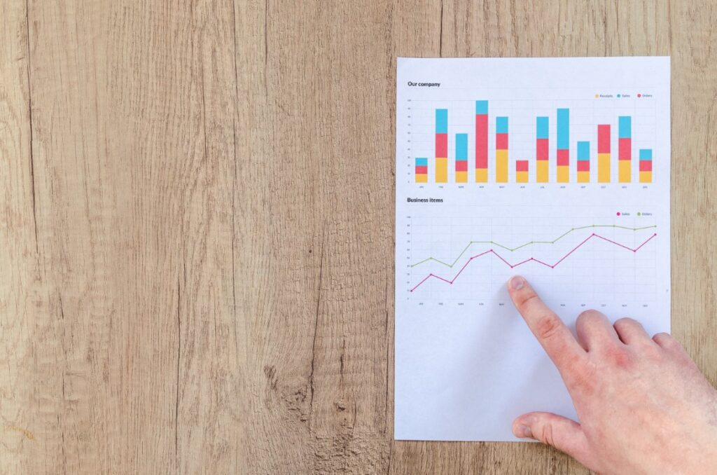 Hand pointing to line graph depicting business growth through marketing plans with bar chart above comparing activities