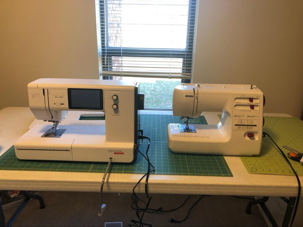 Erika's two sewing machines side by side