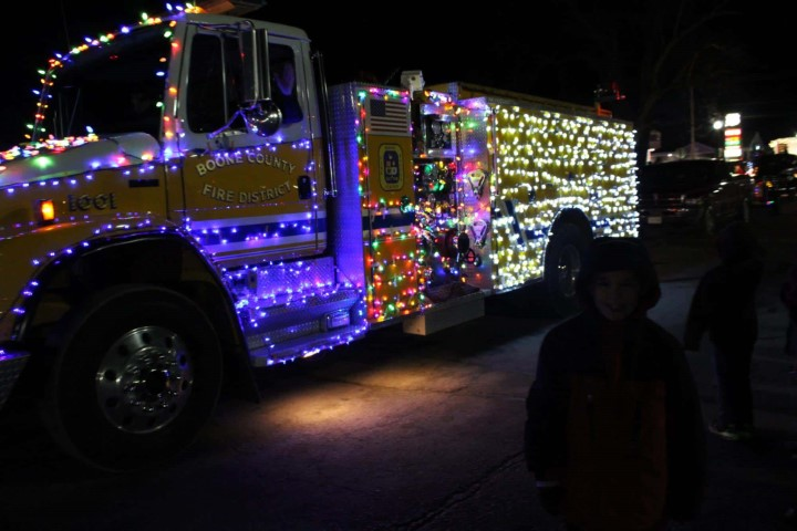 Firetruck lit up with Christmas lights
