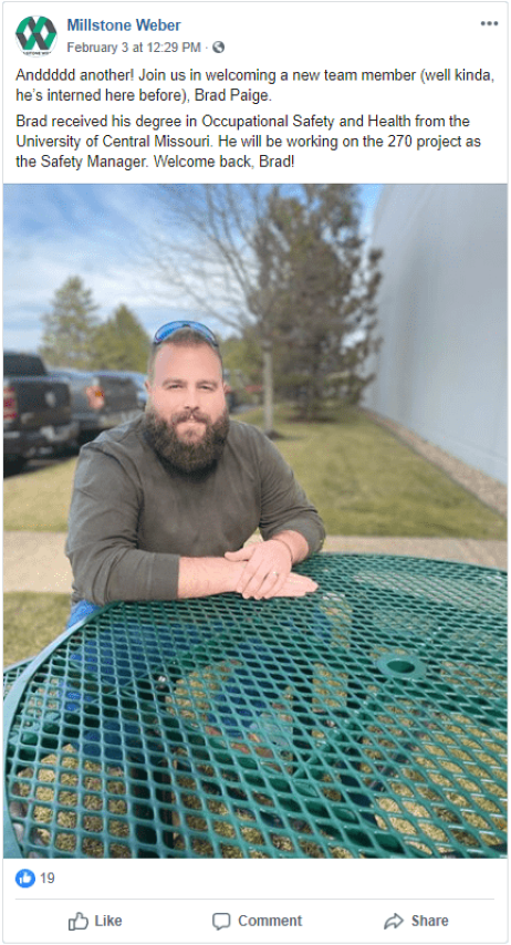 "How to Use Facebook to Promote your Construction Company - Millstone Weber introduces Brad Paige as the ""not so new"" member of their team (he's interned before). The post includes an image of Brad sitting at an outdoor patio table."