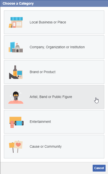Creating a Company Page on Facebook: Choose a Category — Local Business or Place; Company, Organization or Institution; Brand or Product; Artist, Band or Public Figure; Entertainment; Cause or Community
