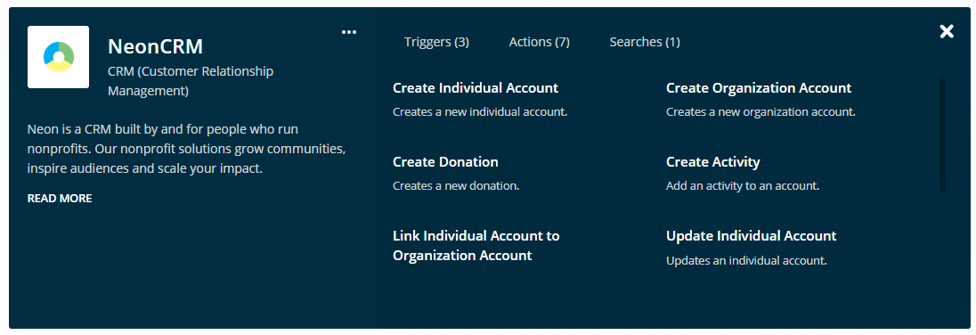 NeonCRM and WordPress Integration with Members Plugin - Zapier Actions for NeonCRM: Create Individual Account, Create Donation, Link Individual Account to Organization Account, Create Organization Account, Create Activity, Update Individual Account, etc.